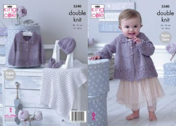 King Cole 5340 DK Knitting Pattern Babies Matinee Jacket, Shoes, Hat & Blanket